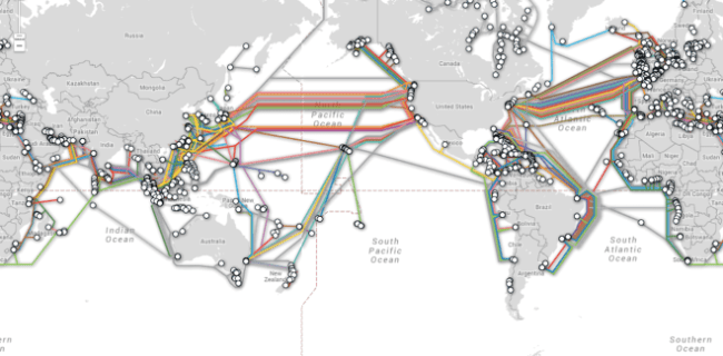 hight resolution of cables crisscross the oceans carrying your internet info