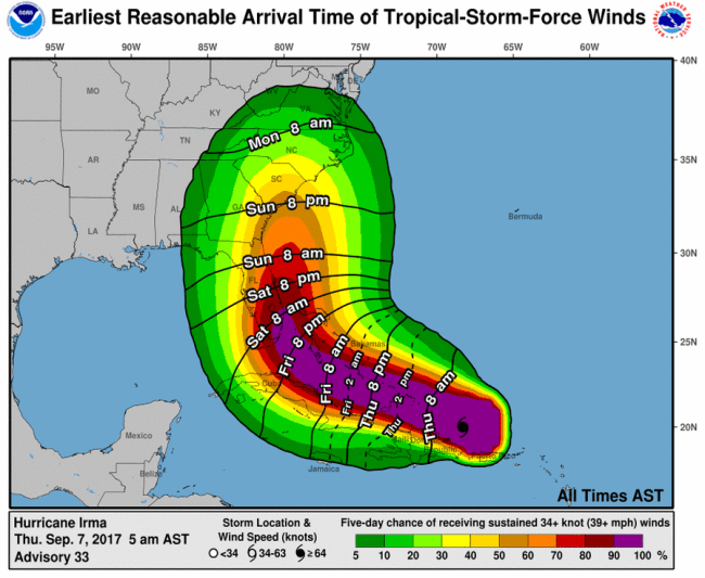 hight resolution of hurricane irma earliest arrival times as of 5 00am est
