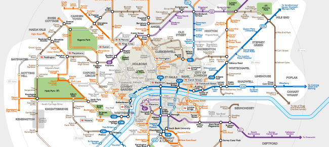 small resolution of this tube style map reveals london s intricate cycle path network