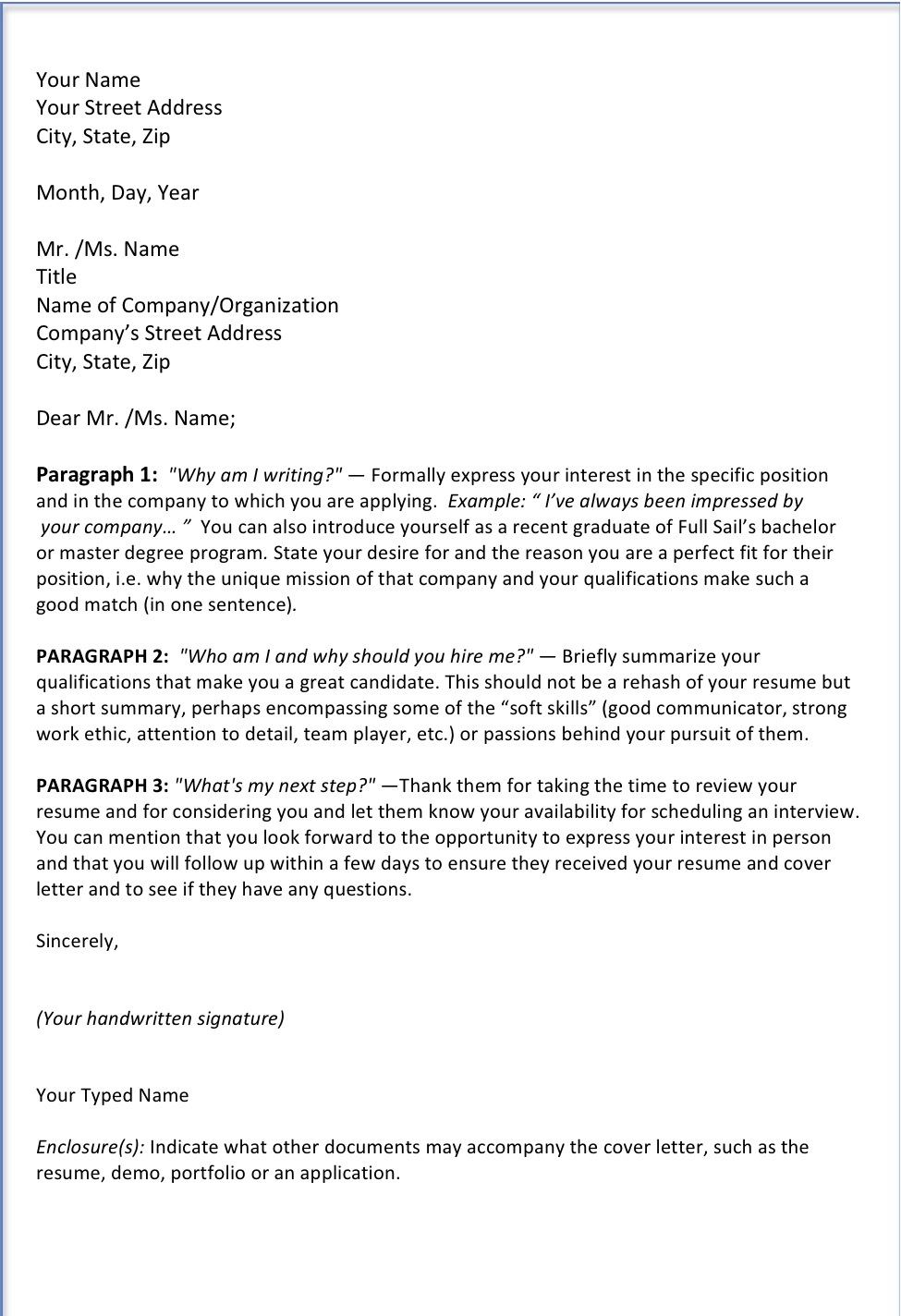 COVER LETTER TIPS « FS Music Production