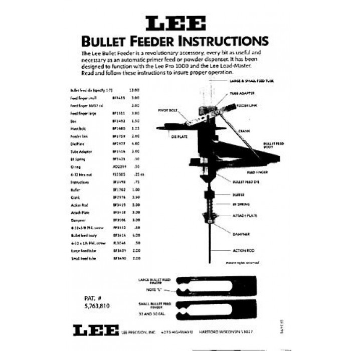 Lee Precision Bullet Feed Kit 9mm to .365 Caliber, to .46