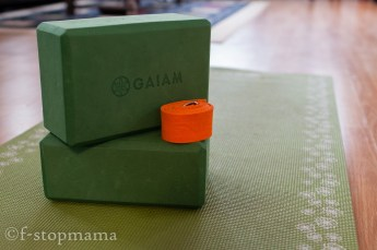Yoga mat, blocks and strap