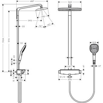 Hansgrohe Raindance Select E 360 Air 1jet showerpipe: m