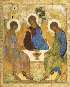 "The famous Rublev Trinity icon -- the ""Old Testament Trinity"""