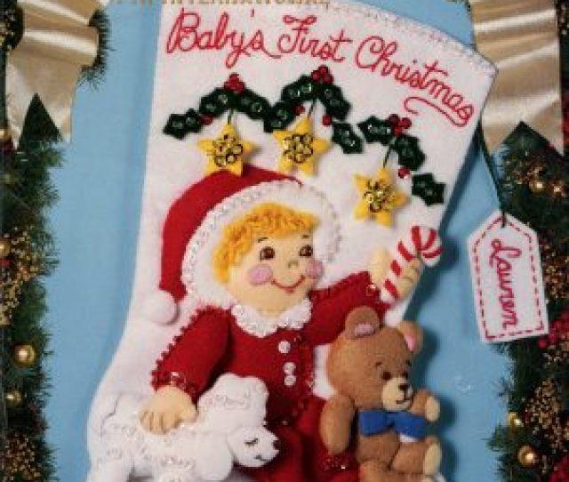 Babys First Christmas  E  B Bucilla Felt Christmas Stocking Kit