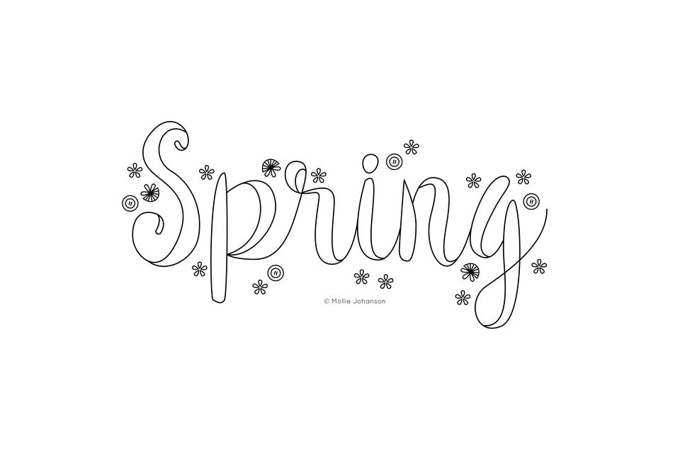 Spring Floral and Type Embroidery Pattern