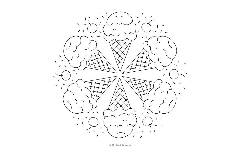 Ice Cream Cone Mandala Free Embroidery Pattern