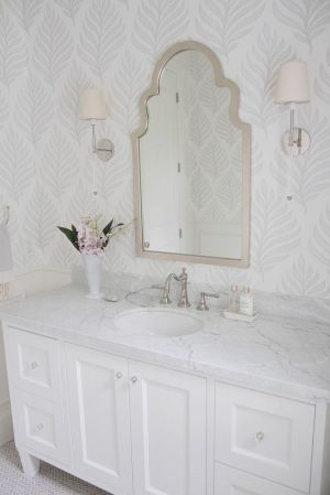 powder bathroom bathrooms mirror tile crown designs homes marble neutral wallpapered purity through ordered mirrors bath bedroom thespruce farmhouse floor