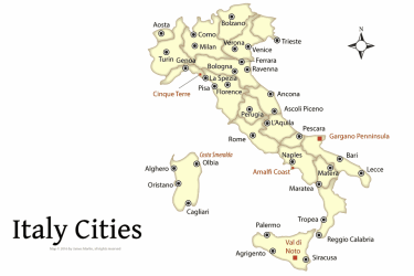 cities italy map italian tourist places attractions 1500 martin james guide plan planning