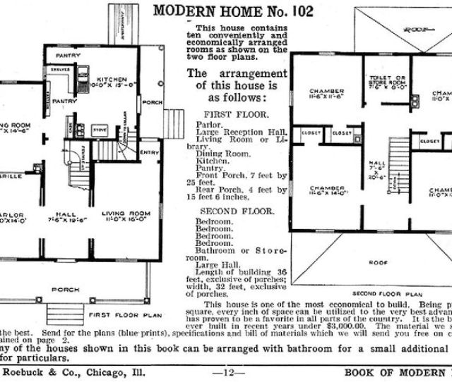 American Foursquare Floor Plan From Sears Book Of Modern Homes Number