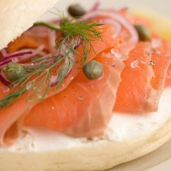 Kitchen Reno High Top Tables Open-face Smoked Salmon Bagel
