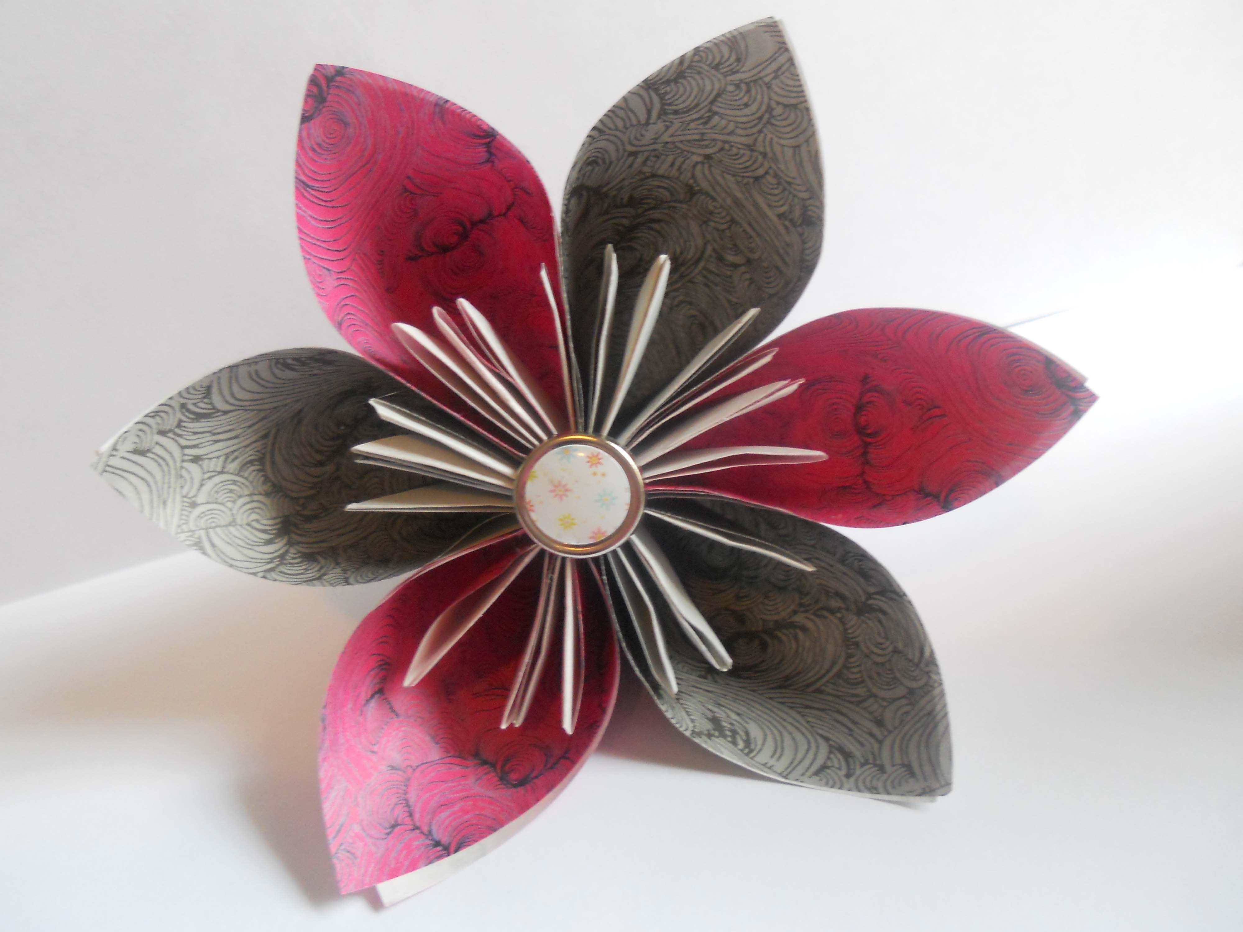 Simple Origami Flower Steps