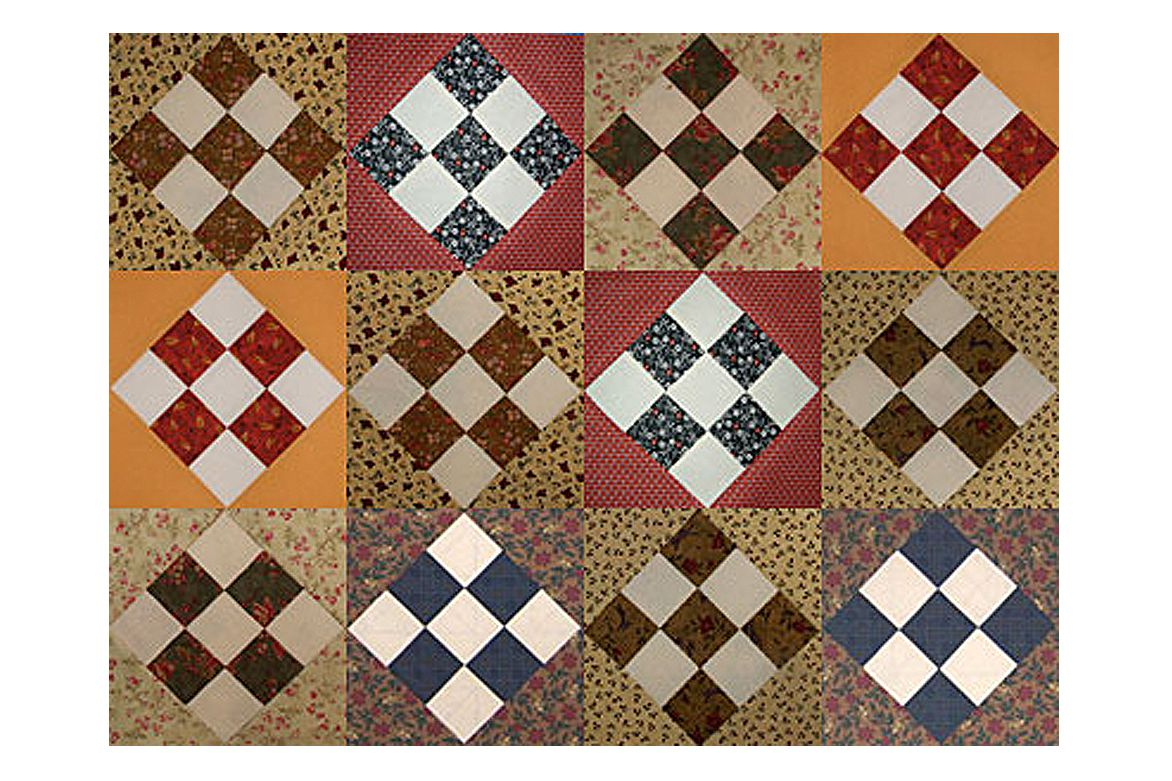 Easy Country Nine Patch Scrap Quilt Block Pattern