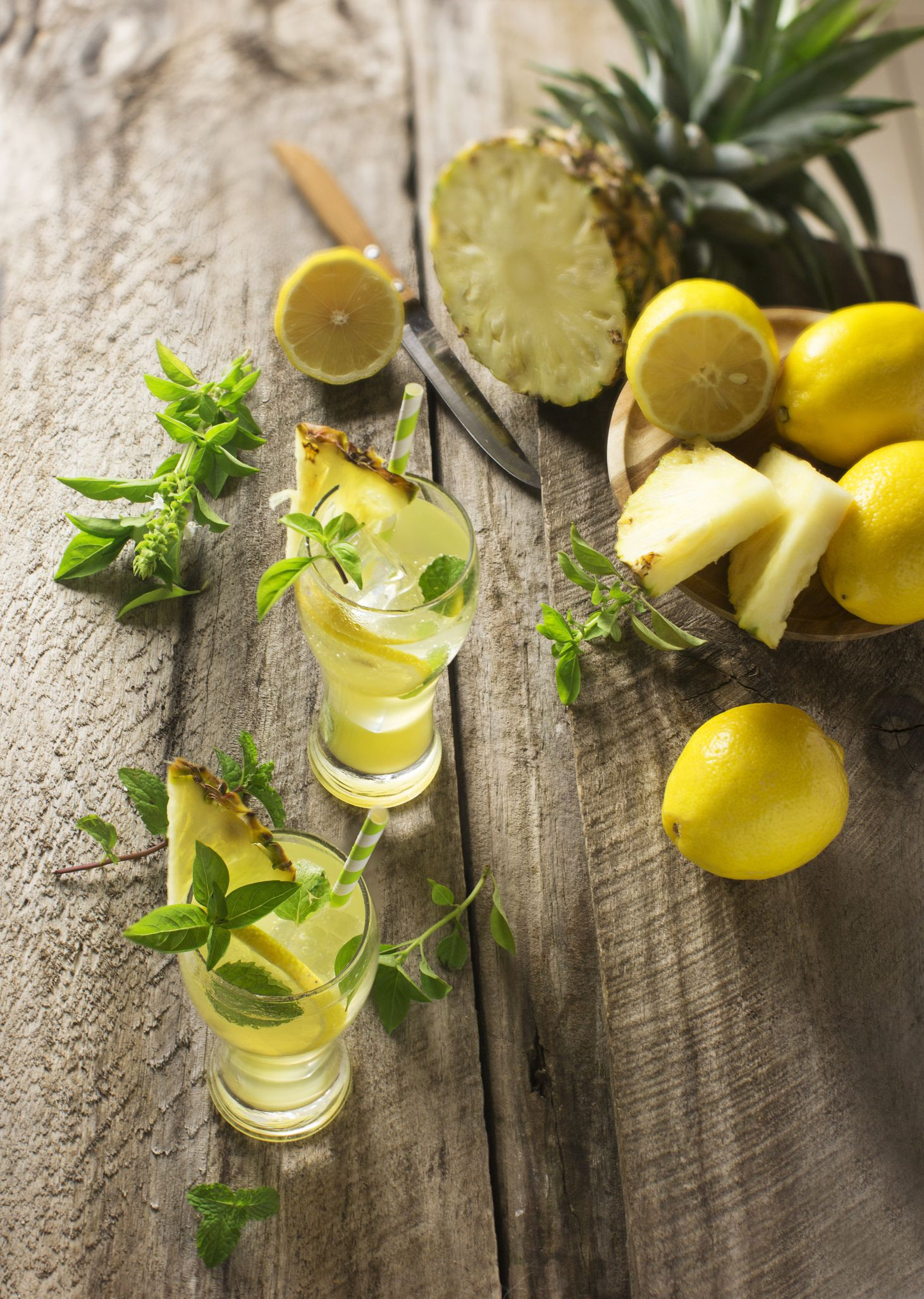 Pineapple Coconut Water Lime  Mint Detox Tonic Recipe