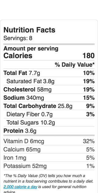 Nutritional Information for Jiffy Blueberry Cornbread. Makes 8 large or 16 small servings.