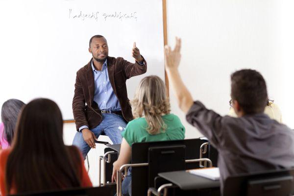 Teacher Teaching Adult Students
