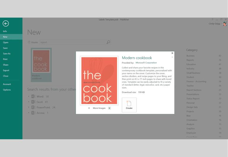microsoft publisher cookbook template