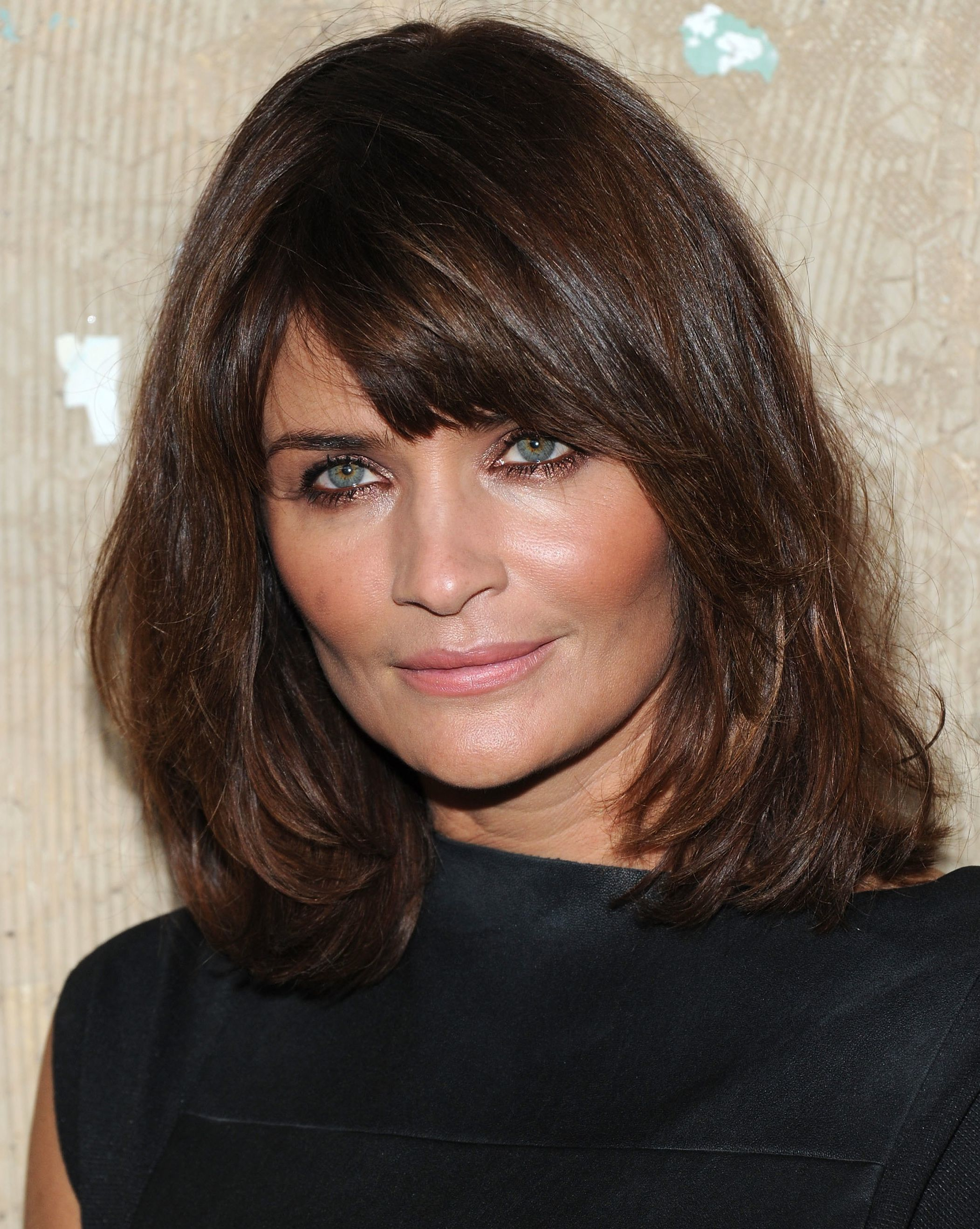 Side swept Bangs Shoulder length Hair for Square Faces