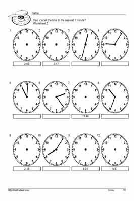 10 Worksheets for Telling Time to the Nearest 5 Minutes