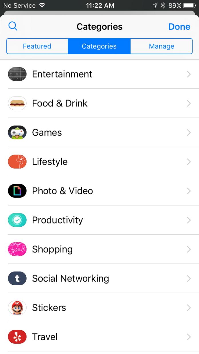 iMessage App Categories