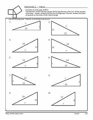 Pythagorean's Theorem Worksheets
