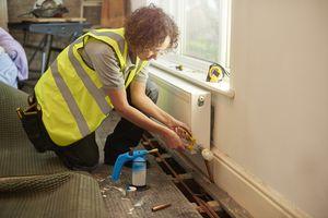 female plumber on site
