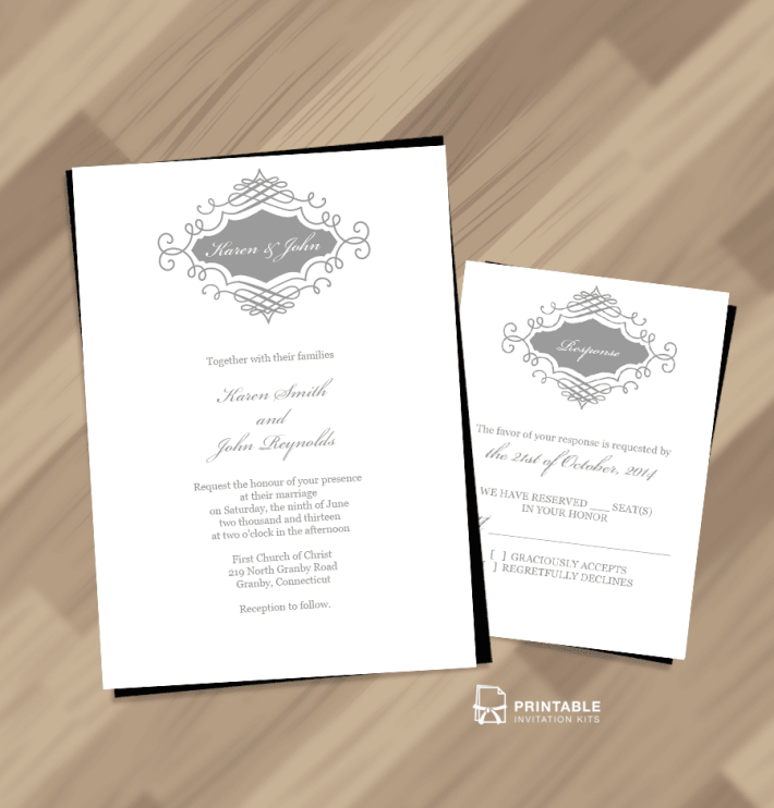 Elegant Monogram Printable Wedding Invitation