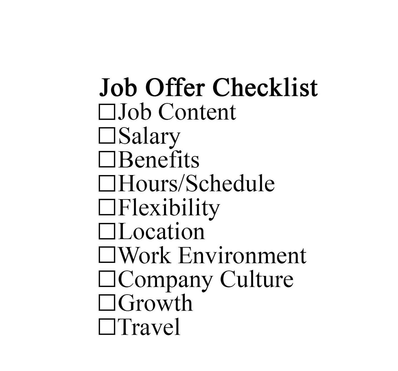 Checklist to Evaluate a Job Offer