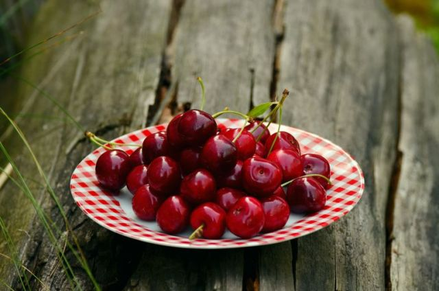 cherries on plate