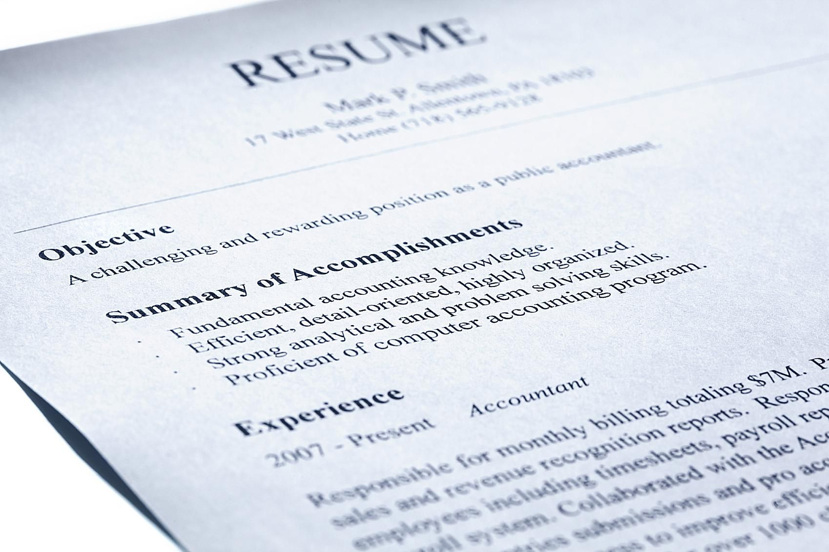 Resume With A Summary Statement Example