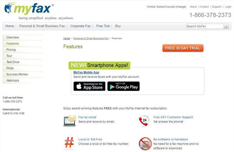 MyFax page
