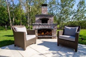 Barkman pizza oven with outdoor chairs