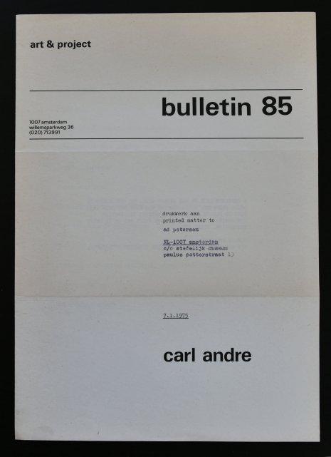 carl andre bulletin 85
