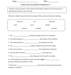 Word Context Worksheets   Printable Worksheets and Activities for Teachers [ 1650 x 1275 Pixel ]
