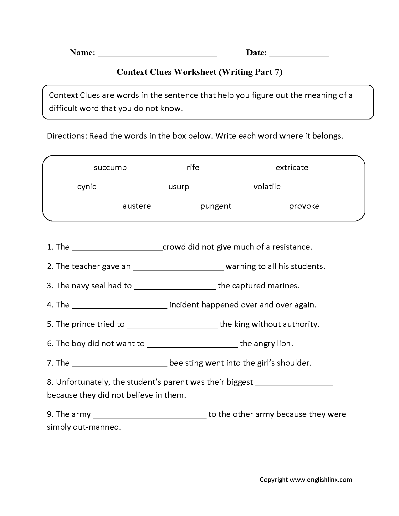 hight resolution of Word Context Worksheets   Printable Worksheets and Activities for Teachers