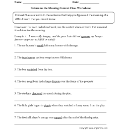 Word Context Worksheets   Printable Worksheets and Activities for Teachers [ 2200 x 1700 Pixel ]