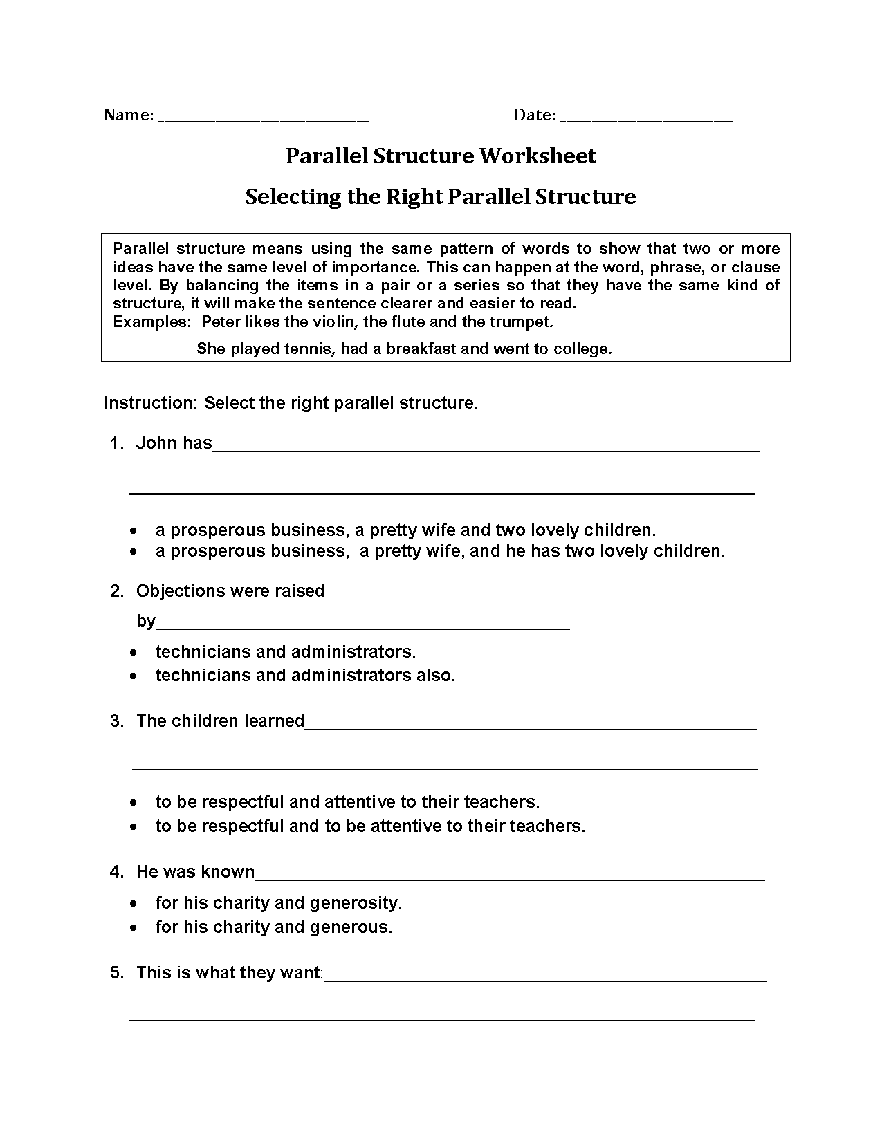 Parallel Structure Worksheets