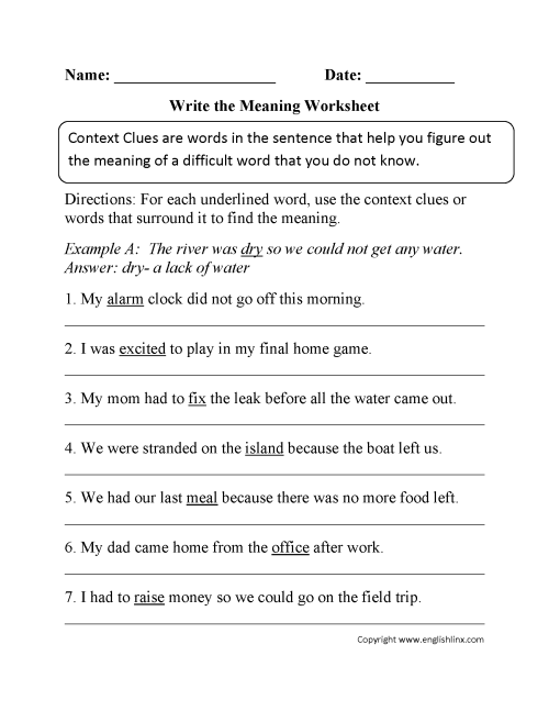 small resolution of Word Mystery Context Clues Worksheet   Printable Worksheets and Activities  for Teachers