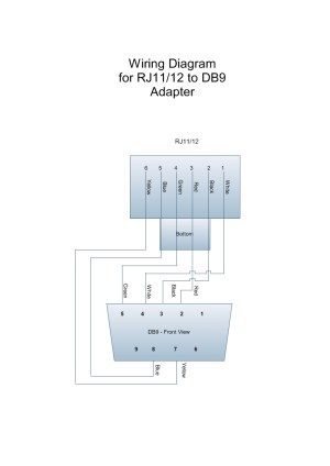 Wiring diagram for RJ11DB9 adapter