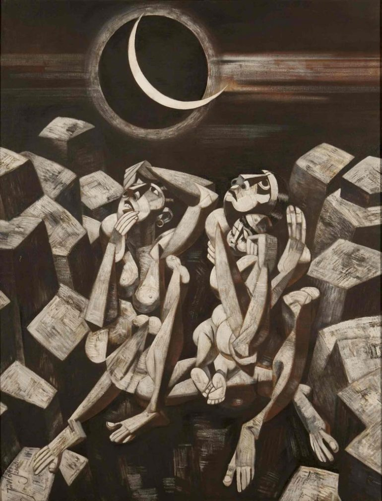 Earthquake and Eclipse, 150X120 cm, Acrylic on canvas, 2008 by Javlon Umarbekov