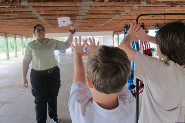 Learning our dominate side at Panola Mountain State Park's archery class.