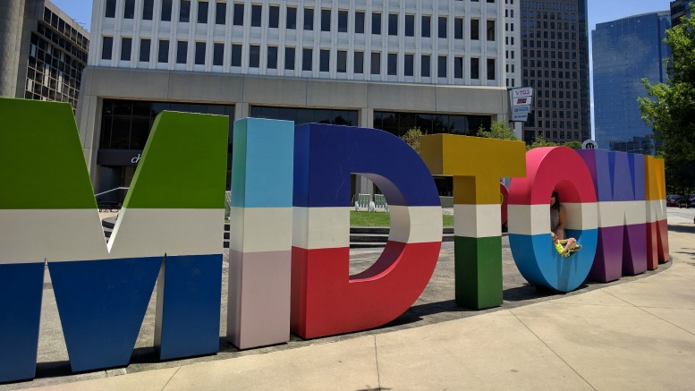 The Midtown sign in Midtown Atlanta is a colorful photo opp.