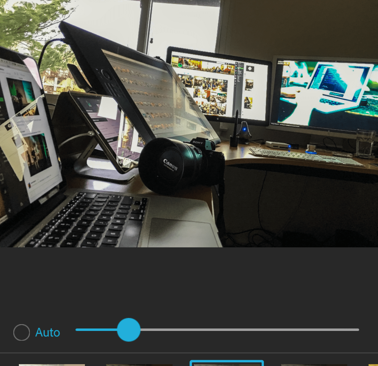 One of the awesome features of the Sony A7R II is WiFi - I can connect my iPhone to the camera and download images right away. So I actually have two different Post workflows. I download some photos right after taking them onto my iPhone and process them in Photoshop Express for iOS. It's actually an amazingly powerful app. Lightroom for iOS has great features but is still way too laggy to be part of my normal workflow. The vast majority I download later on my old Mac Pro and process in Lightroom. I have two older Apple Cinema displays and a Cintiq 24HD, I color calibrate all of them with a Spyder from DataColor.