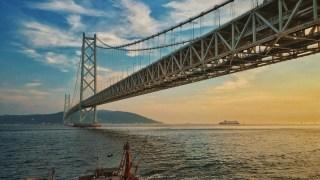 iPhoneで撮った夕焼けからの明石海峡大橋