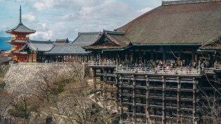 清水寺の本堂の改修工事が始まる。屋根が覆われる前に見てきた