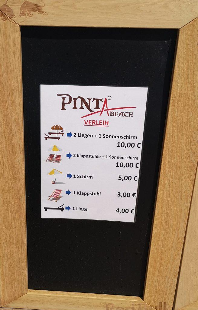 Aufsteller Pinta Beach - Preisliste