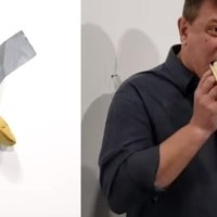 VIDEO: Llega a ver la obra de arte de la banana valorada en 120 mil dólares y se la come