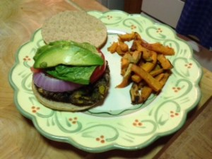 Black bean burger with sweet potato fries!