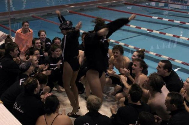 Junior year leading a swim cheer