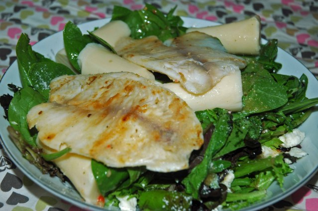 This tilipia salad is the best salad I have ever made by myself. I'm a big girl now.